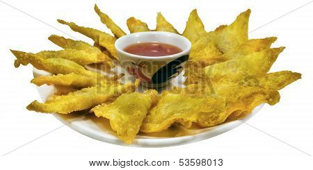 Fried wantons on the background asia food