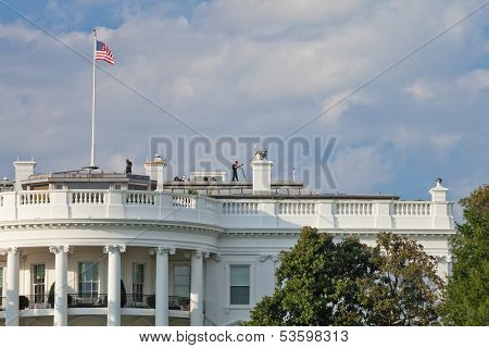 Washington D.c., Usa - Oct 4, 2012 : The White House Guard Is Watching The Vicinity To Guarantee The