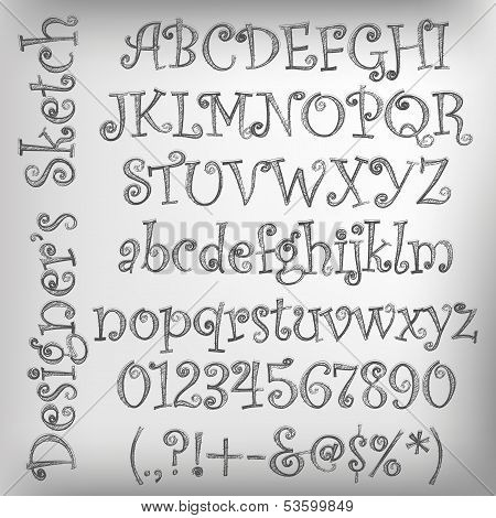 Vector Sketched Alphabet