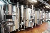 picture of cistern  - Row of tanks in microbrewery - JPG