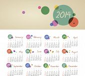 image of august calendar  - Vector calendar for 2014 eps without transparency - JPG