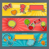 stock photo of kawaii  - Horizontal banners with sticker kawaii doodles - JPG