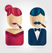 image of dress-making  - A woman making up and a man smoking a cigar icons for web - JPG