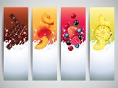 picture of milk  - Fruits and berries in milk splashes vector banners - JPG