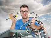 stock photo of cpu  - Composite image of portrait of confused young it professional with screw driver and cables in front of open cpu over white background - JPG