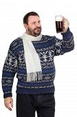 stock photo of shilling  - Bearded man in sweater is keeping ale pint on white background - JPG
