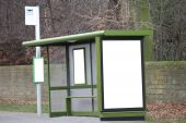 picture of bus-shelter  - A Bus Stop Shelter with Blank Advertising Hoardings - JPG