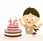stock photo of sweet sixteen  - Illustration of a surprised birthday girl w cake and candles - JPG
