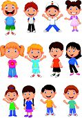 stock photo of brunete  - Vector illustration of Children cartoon collection set - JPG