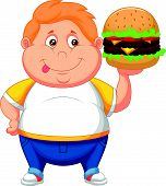Fat boy smiling and ready to eat a big hamburger
