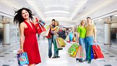 picture of boxing day  - Beautiful Girl with shopping bags - JPG