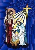 pic of holy family  - Vector illustration of the holy family of the nativity or birth of Jesus created as stained glass - JPG