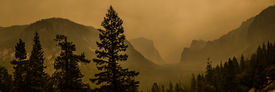 stock photo of polution  - Yosemite panorama with dust air polution from fire august 2013  - JPG