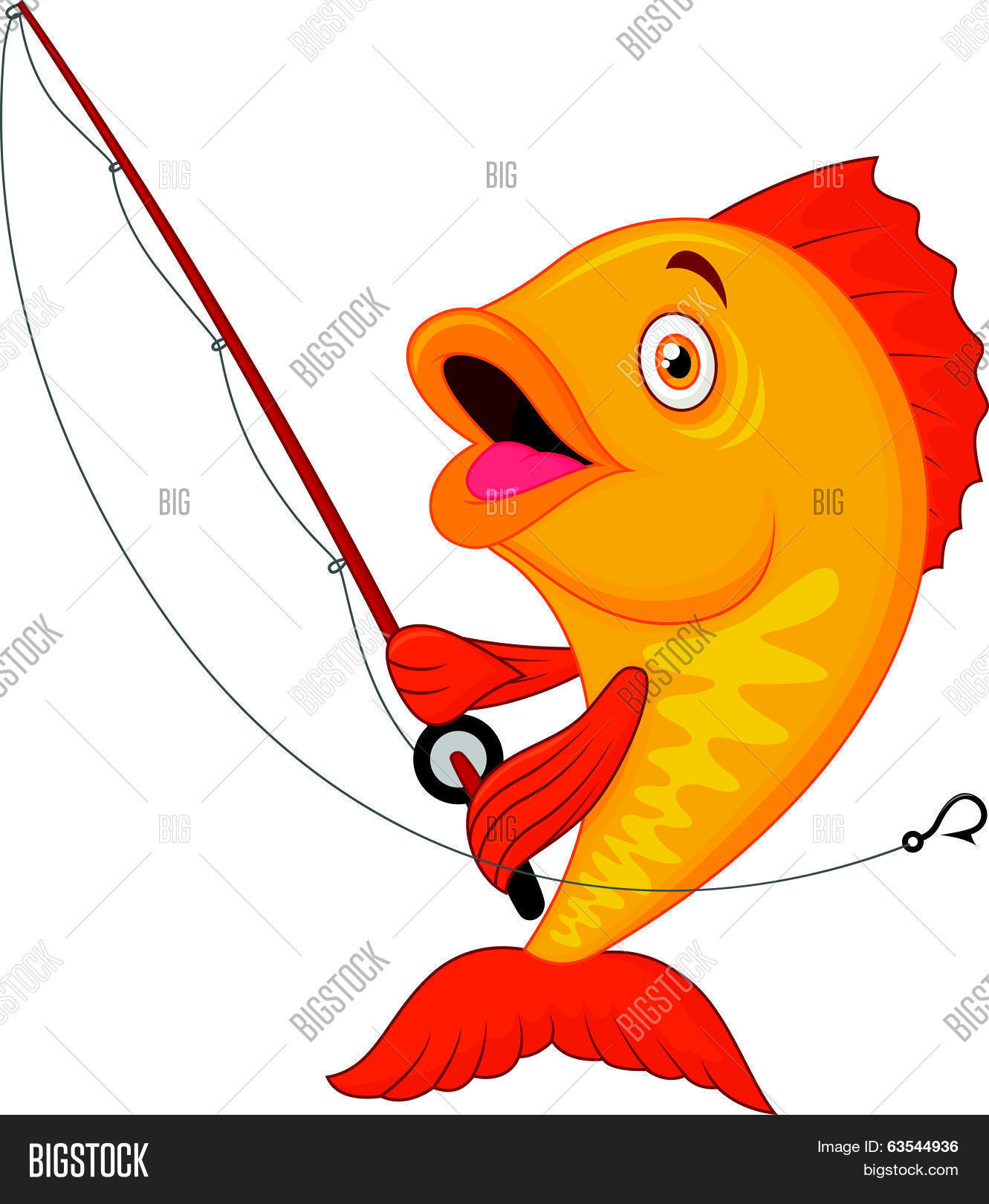 Cute fish cartoon holding fishing rod stock vector stock for Cartoon fish pictures