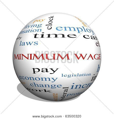 Minimum Wage 3D Sphere Word Cloud Concept
