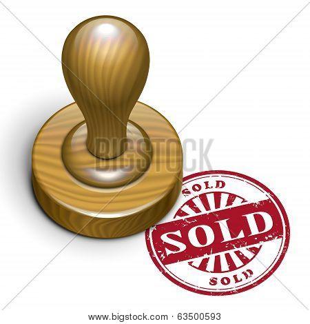 Sold Grunge Rubber Stamp
