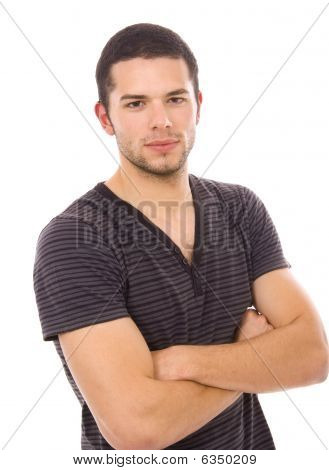 Young Casual Man Portrait, Isolated On White Background