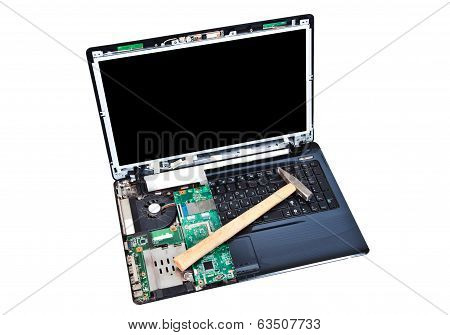 Laptop With Hammer On Keyboard