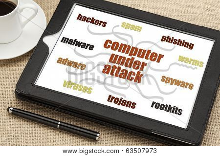 computer network security concept - hackers, spam, phishing, virus, malware, spyware and other risks - mind map or word cloud on a digital tablet
