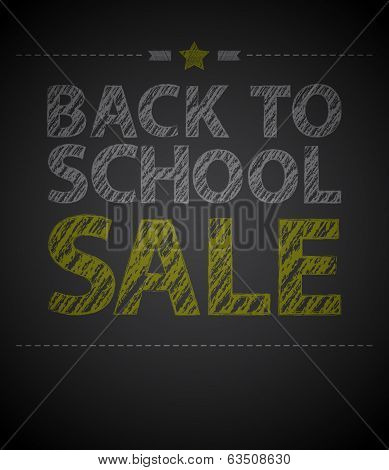 Back to school poster with text on chalkboard