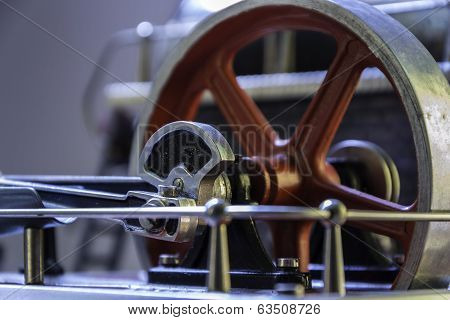 Close Up Of The Flywheel Of A Steam Engine