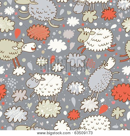 Sheep on clouds - cute cartoon childish seamless pattern in vector. Seamless pattern can be used for wallpaper, pattern fills, web page backgrounds, surface textures.