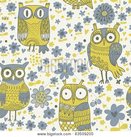 Funny owls in flowers in vector. Stylish vintage background in blue and green colors. Seamless pattern can be used for wallpapers, pattern fills, web page backgrounds, surface textures.