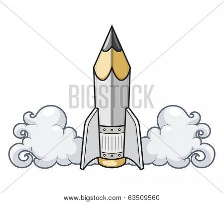 creative concept pencil as rocket. Rasterized illustration.