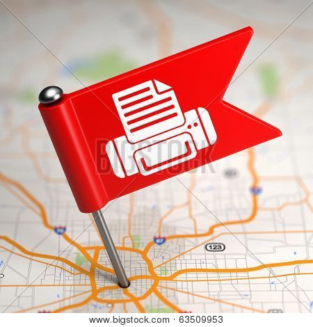 Printer Sign - Small Flag on a Map Background.
