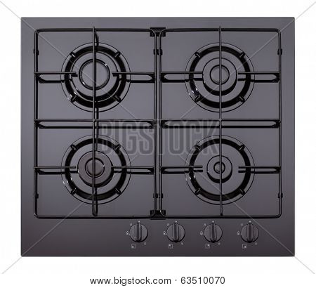 Black glass gas hob isolated on white