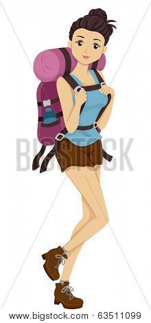 Illustration of a Girl Carrying Camping Gear Headed for a Hike