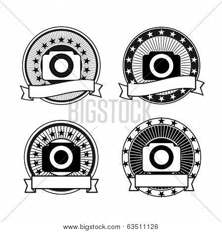 Set of vector camera badges