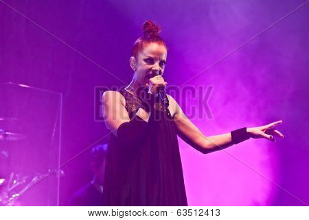 Shirley Manson from GARBAGE performs on stage on November 13, 2012 in Minsk, Belarus