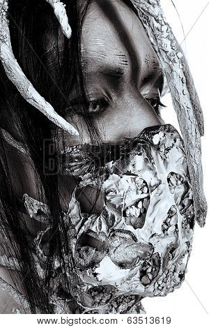 Close-up portrait of a mythical creature male. Alien creature. Horror. Halloween. Isolated over white. Black-and-white.