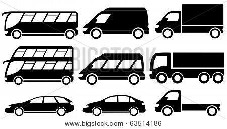 set isolated transport icons