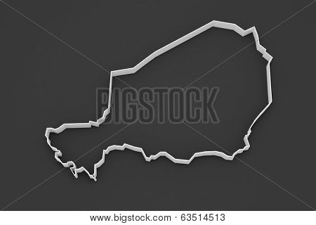 Map of Niger. 3d