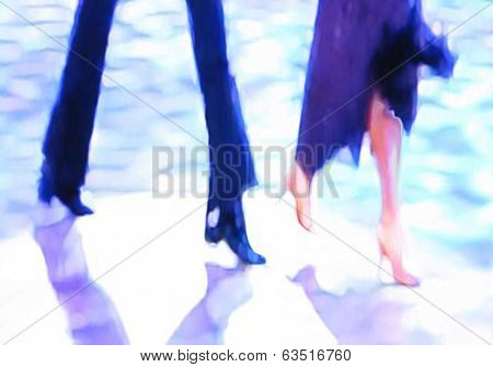 Ballroom dance floor abstract twenty digital painting