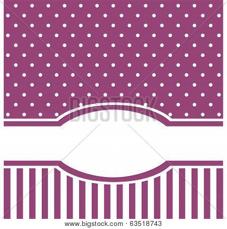 Vector card or invitation with white polka dots. Cute background with white space to put your text