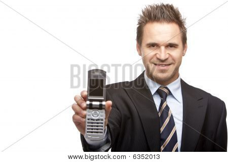 Business Man Shows Mobil Phone
