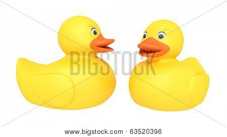 An image of two nice yellow rubber duckies isolated on white