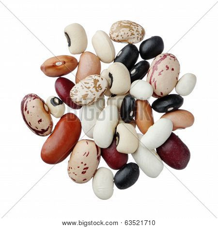 Assorted Dried Beans Isolated On White Background