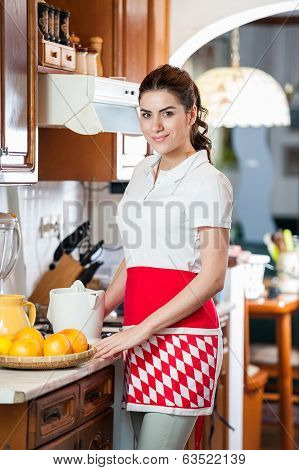 Portrait of house wife cooking