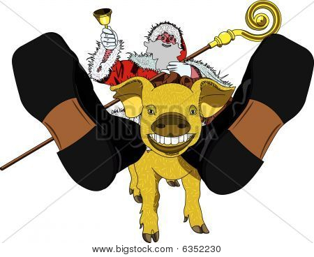 Santa-claus And Golden Pig
