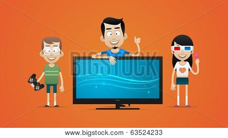 Happy family bought new plasma television