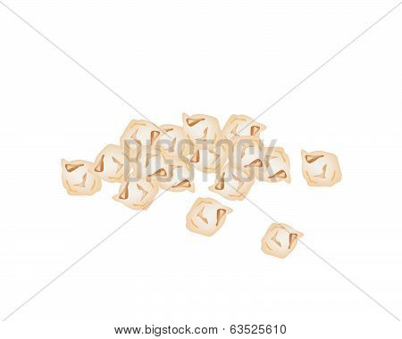 A Stack Of Chick Pea On White Background