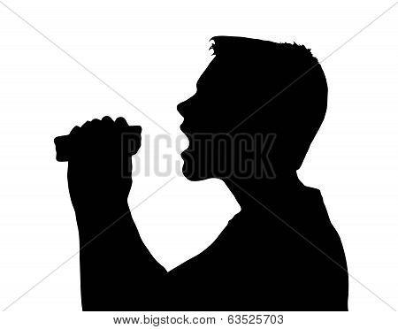 Teen Boy Silhouette Large Bite From Sandwich