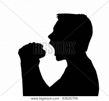 Teen Boy Silhouette Taking Large Bite From Burger