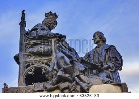 1492 Isabella With Colombus Statue Built 1892 Andalusia Granada Spain