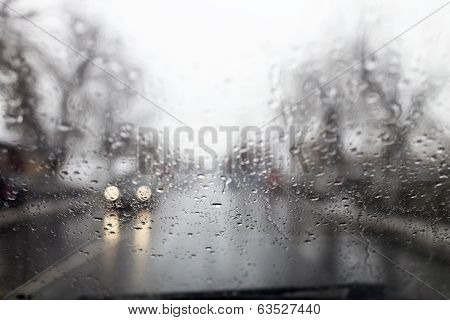 Rainy Window In Traffic