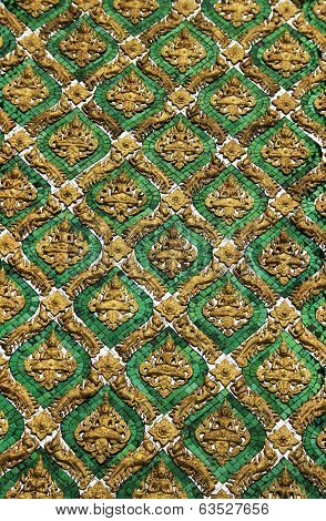 Emerald Wall and Buddhism architecture in Wat Phra Kaew, Temple